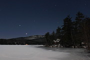 Monadnock Region Posters - Mount Monadnock Moonlight Stars and Planets Poster by John Burk