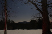 Monadnock Region Posters - Mount Monadnock over Moonlit Field Poster by John Burk