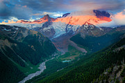 White River Prints - Mount Rainier and White River Print by Inge Johnsson
