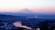 Commencement Bay Prints - Mount Rainier dawn above Port of Tacoma Print by Sean Griffin