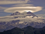 Pierce County Posters - Mount Rainier from the Puyallup Ridge fire lookout west of the m Poster by Ed Book