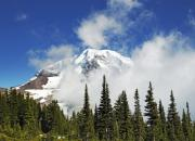 Fog Mist Framed Prints - Mount Rainier In Clouds Framed Print by Brendan Reals