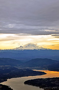 Arial View Art - Mount Ranier  by August Bach