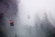 Foggy Day Prints - Mount Roberts Tram Climbing Print by Rich Reid