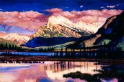 Rocky Paintings - Mount Rundle by David Lloyd Glover