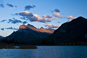 Alberta Rocky Mountains Photos - Mount Rundle Left And Sulphur Mountain by Zoltan Kenwell