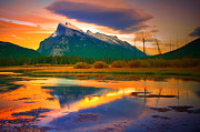Rundle Prints - Mount Rundle Sundown Print by Tara Turner