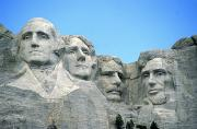 Portrait Sculpture Photograph Prints - Mount Rushmore Print by American School