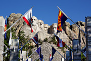Black Hills Framed Prints - Mount Rushmore and Flags Framed Print by Teresa Zieba