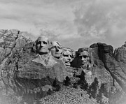 Rapid City Metal Prints - Mount Rushmore BW Metal Print by Robert Frederick