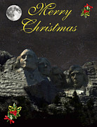 Thomas Jefferson Posters - Mount Rushmore Merry Christmas Poster by Eric Kempson