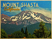 Mount Digital Art - Mount Shasta California by Vintage Poster Designs