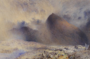 Raining Painting Metal Prints - Mount Snowdon through Clearing Clouds Metal Print by Alfred William Hunt