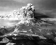 Landforms Posters - Mount St. Helens In Eruption On May 18 Poster by Everett
