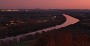 Deerfield River Metal Prints - Mount Sugarloaf Twilight Autumn Panorama Metal Print by John Burk