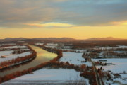 Deerfield River Metal Prints - Mount Sugarloaf Winter Sunset Metal Print by John Burk