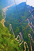 Cable Car Framed Prints - Mount Tianmen Framed Print by Feng Wei Photography