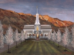 Church Posters - Mount Timpanogos Temple Poster by Jeff Brimley