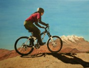Mountain Bike Paintings - Mountain Bike Ride in Bolivia by Betty-Anne McDonald
