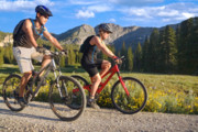 Trail Ride Art - Mountain Biking Couple by Utah Images