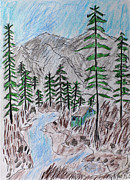 Mountain Cabin Drawings Posters - Mountain Cabin Near A Stream Poster by Swabby Soileau