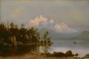 Bierstadt Painting Framed Prints - Mountain Canoeing Framed Print by Albert Bierstadt