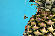 Miniature Digital Art - Mountain climber on pineapple by Mingqi Ge