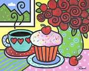 Cherries Paintings - Mountain Cupcake by Renee Womack