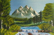 Fall River Scenes Painting Posters - Mountain Falls Poster by Marianne NANA Betts