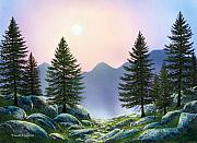 Moonlight Paintings - Mountain Firs by Frank Wilson
