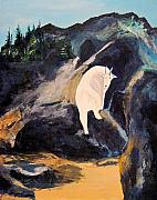 Mountain Goat Painting Prints - Mountain Goat Print by Richard Beauregard