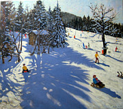 Skiing Paintings - Mountain hut by Andrew Macara