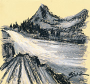 Mountains Pastels Prints - Mountain In Oil Pastels Print by Lidija Ivanek