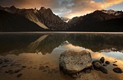 Crisp Prints - Mountain Lake At Sunrise Print by Robbie Shone