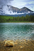 Alberta Landscape Framed Prints - Mountain lake Framed Print by Elena Elisseeva