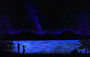 Stargazing Painting Framed Prints - Mountain Lake Glow in the Dark Mural Framed Print by Frank Wilson