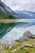 Vista Photo Posters - Mountain lake in Jasper National Park Poster by Elena Elisseeva