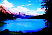 Mountains Digital Art Prints - Mountain Lake in Oil Print by Garry Staranchuk