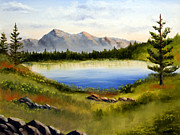 Mountain Pine Tree Painting Framed Prints - Mountain Lake Landscape Oil Painting Framed Print by Mark Webster
