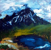 Abstracted Paintings - Mountain Lake by Lidija Ivanek