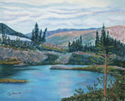Colorado Trees Pastels Prints - Mountain Lake Print by Mary Benke