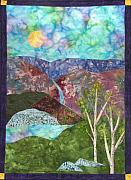 Sun Tapestries - Textiles Originals - Mountain Lake by Maureen Wartski
