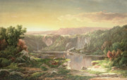 1822 Framed Prints - Mountain Lake near Piedmont Framed Print by William Sonntag