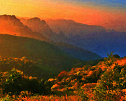 Hilly Landscape Metal Prints - Mountain Landscape At Sunset Metal Print by Wingsdomain Art and Photography