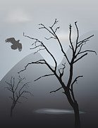 Graphics - Mountain Landscape With Bird by Dave Gordon