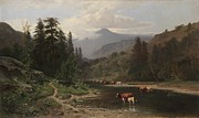 Evergreens Prints - Mountain Landscape with Cattle Print by William Keith