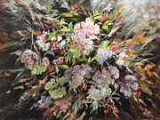 White Flowering Bush Paintings - Mountain Laurel Song by Katherine Tucker
