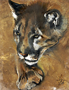 Lion Oil Paintings - Mountain Lion - Guardian of the North by J W Baker