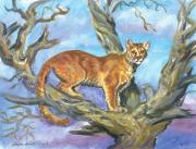 Wyoming Paintings - Mountain Lion in Limber Pine by Dawn Senior-Trask