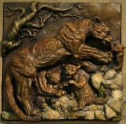 Animal Reliefs Acrylic Prints - Mountain Lion Mother with Cubs Acrylic Print by Dawn Senior-Trask